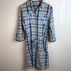 LL Bean Plaid Button Front Shirt Dress